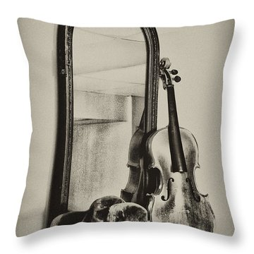 Hat And Fiddle Throw Pillow by Bill Cannon