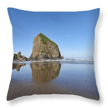 Haystack Rock 3 Throw Pillow by Mauro Celotti