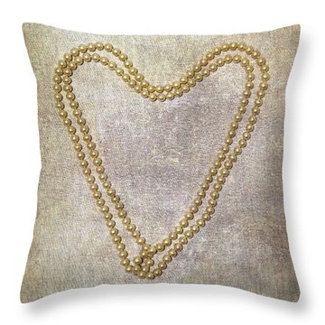 Heart Of Pearls Throw Pillow by Joana Kruse