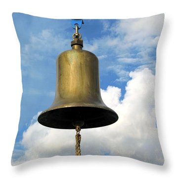 Heavy Bronze Bell Throw Pillow by Yali Shi