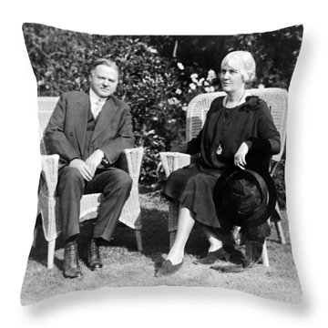 Herbert Hoover Seated With His Wife Throw Pillow by International  Images