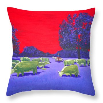 Hereford Herd Throw Pillow by Randall Weidner
