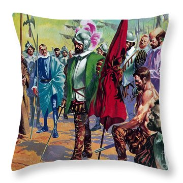 Hernando Cortes Arriving In Mexico In 1519 Throw Pillow by English School