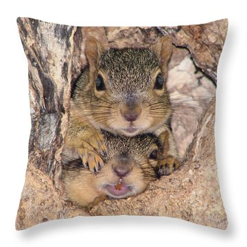 Hey I Cant See Throw Pillow by Lori Tordsen