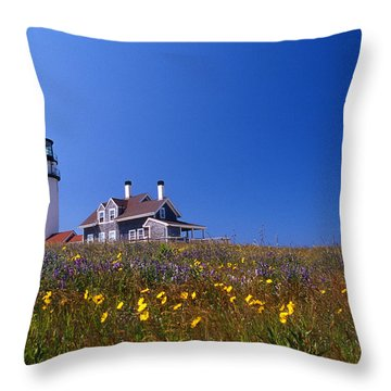 Highland Lighthouse Cape Cod Throw Pillow by Skip Willits