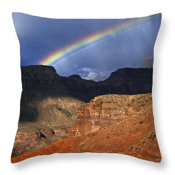 Hikers And Rainbow Kaibab Trail, Grand Throw Pillow by Ralph Lee Hopkins