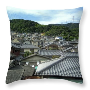 Hillside Village In Japan Throw Pillow by Daniel Hagerman