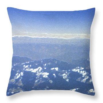Himalayas Blue Throw Pillow by First Star Art