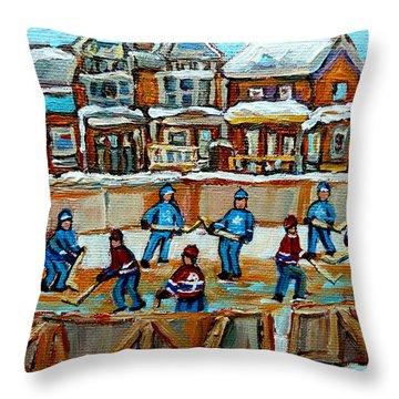 Hockey Rink Montreal Street Scene Throw Pillow by Carole Spandau