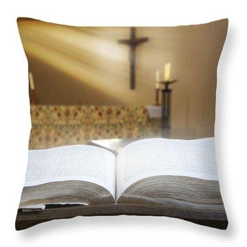Holy Bible In A Church Throw Pillow by John Short