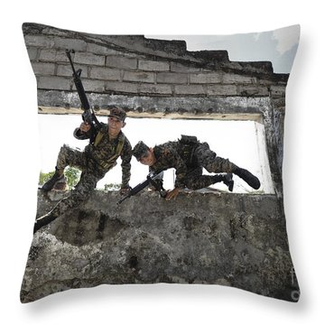 Honduran Army Soldiers Perform Building Throw Pillow by Stocktrek Images