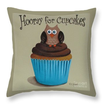 Hooray For Cupcakes Throw Pillow by Catherine Holman