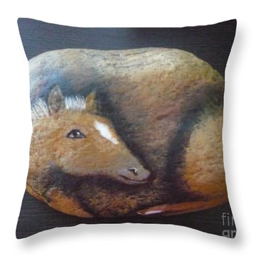 Horse-colt Throw Pillow by Monika Shepherdson