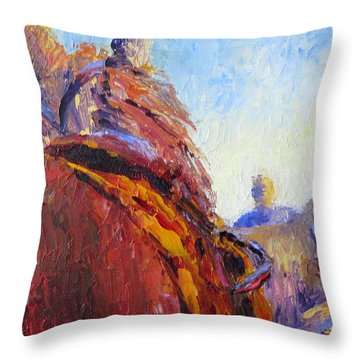 Horse Trainer Throw Pillow by Terry  Chacon