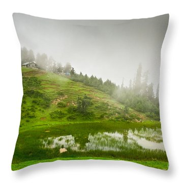 House And Fog Throw Pillow by Syed Aqueel