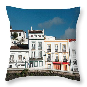 Houses In Ponta Delgada Throw Pillow by Gaspar Avila