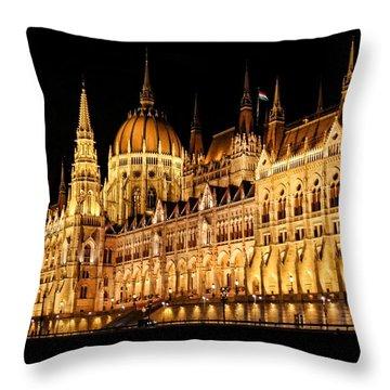 Hungarian Parliament Building Throw Pillow by Mariola Bitner