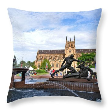Hyde Park Fountain And St. Mary's Cathedral Throw Pillow by Kaye Menner