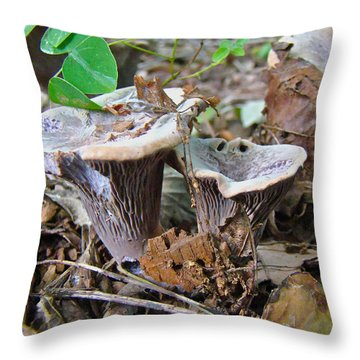 Hygrophorus Caprinus Mushrooms Throw Pillow by Mother Nature