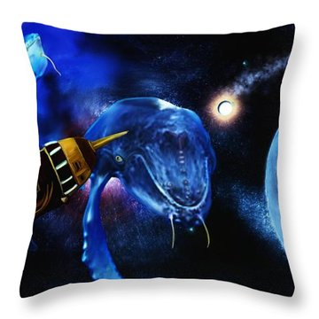 I Think Something Is Out There Throw Pillow by Shere Crossman