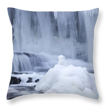 Icy Winter Waterfall Throw Pillow by John Stephens