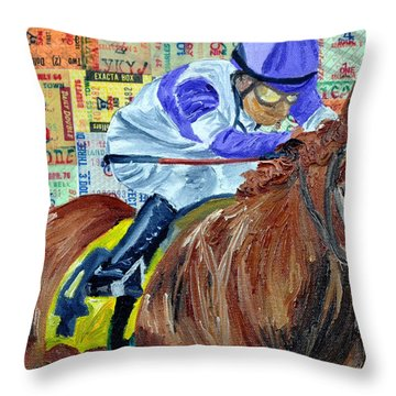 I'll Have Another Wins Throw Pillow by Michael Lee