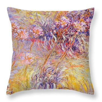 Impression - Flowers Throw Pillow by Claude Monet