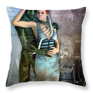 In Love With An Alien Throw Pillow by Jutta Maria Pusl