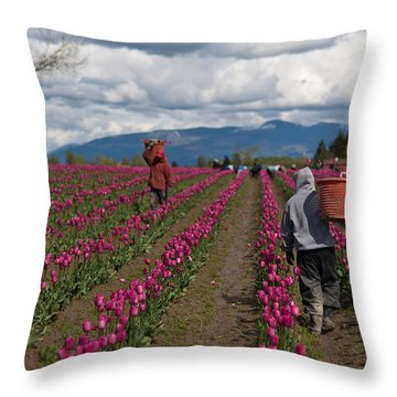 In The Tulip Fields Throw Pillow by Mike Reid