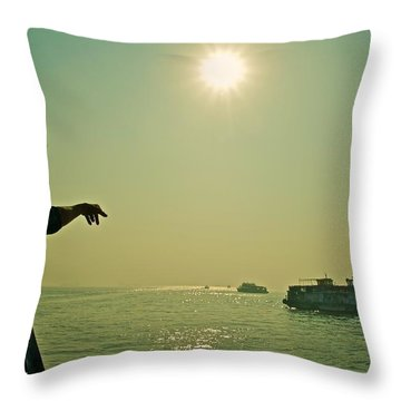 Indian Guide On The Sea Throw Pillow by Valerie Rosen
