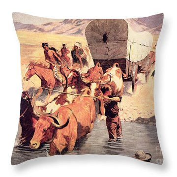 Indians Attacking A Pioneer Wagon Train Throw Pillow by Frederic Remington