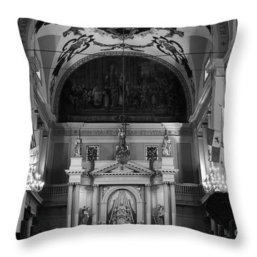 Inside St Louis Cathedral Jackson Square French Quarter New Orleans Black And White Throw Pillow by Shawn O'Brien