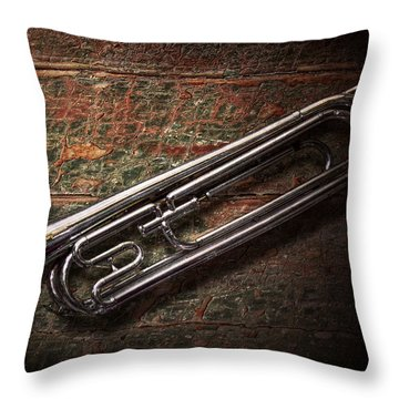 Instrument - Horn - The Bugle Throw Pillow by Mike Savad