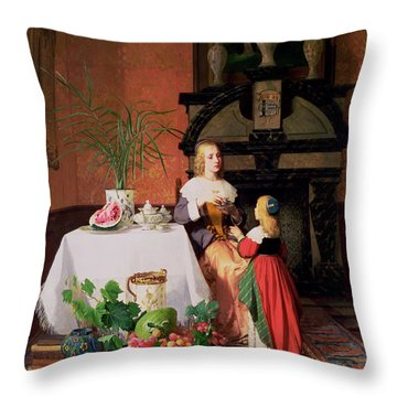 Interior With Figures And Fruit Throw Pillow by David Emil Joseph de Noter