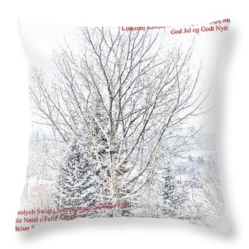 International Christmas Card Throw Pillow by Al Bourassa