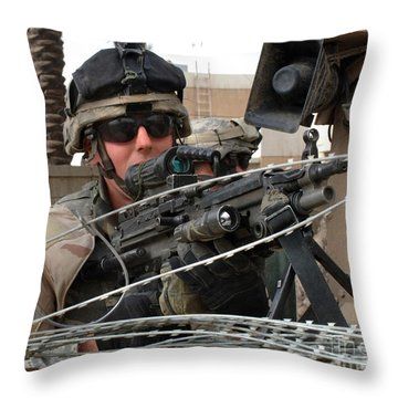 Iraqi And U.s. Soldiers Patrol The Al Throw Pillow by Stocktrek Images