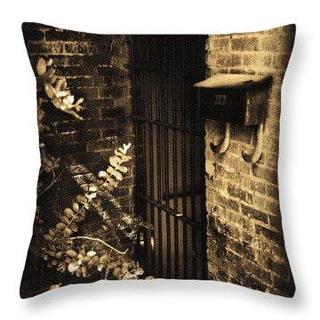 Iron Door Sepia Throw Pillow by Kelly Hazel