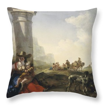 Italian Peasants Among Ruins Throw Pillow by Jan Weenix
