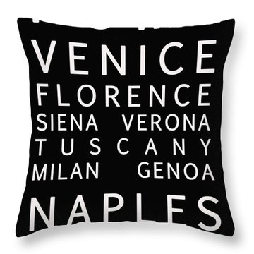 Italy Cities - Bus Roll Style Throw Pillow by Georgia Fowler