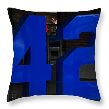 Jackie Robinson 42 Throw Pillow by Rob Hans
