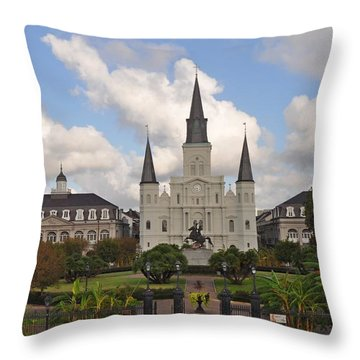 Jackson Square New Orleans Throw Pillow by Bill Cannon