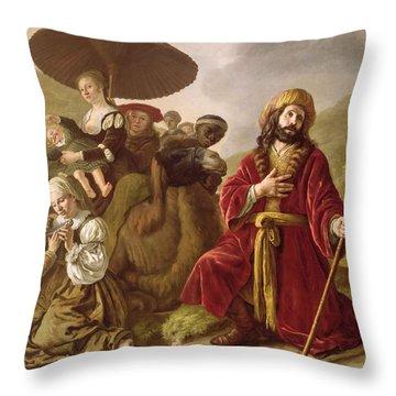 Jacob Seeking Forgiveness Of Esau Throw Pillow by Jan Victoors
