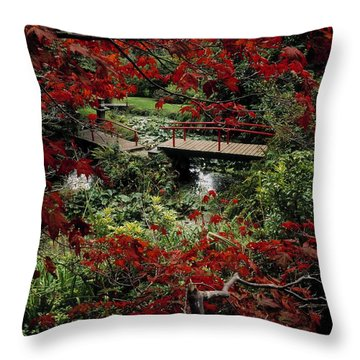 Japanese Garden, Through Acer In Throw Pillow by The Irish Image Collection