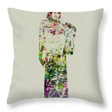 Japanese Woman Dancing Throw Pillow by Naxart Studio