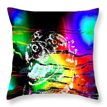 Jazzy Smiling Black Lab Throw Pillow by Barbara Griffin