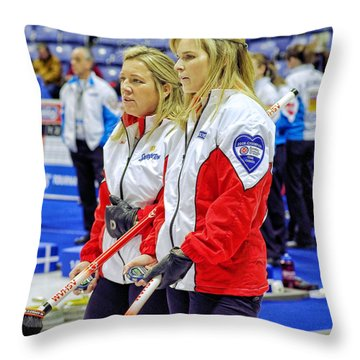 Jennifer And Cathy Throw Pillow by Lawrence Christopher