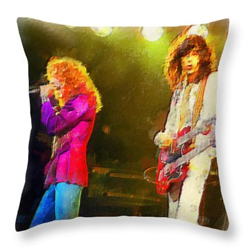 Jimmy Page And Robert Plant Throw Pillow by Riccardo Zullian
