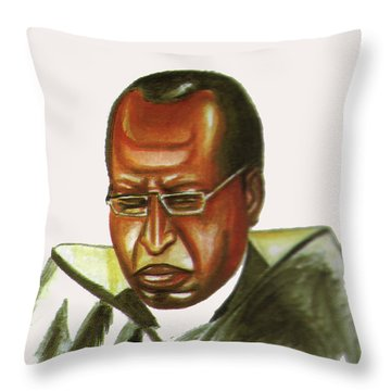 John Gatu Throw Pillow by Emmanuel Baliyanga