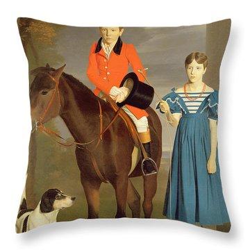 John Gubbins Newton And His Sister Mary Throw Pillow by Robert Burnard
