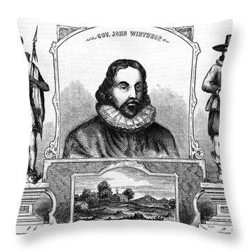 John Winthrop, English Puritan Lawyer Throw Pillow by Photo Researchers